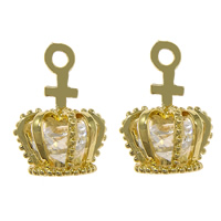 Cubic Zirconia Micro Pave Brass Pendant, with Cubic Zirconia, Crown, gold color plated, faceted, nickel, lead & cadmium free, 11x17x11.50mm, Hole:Approx 2mm, 50PCs/Lot, Sold By Lot