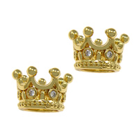 Cubic Zirconia Micro Pave Brass Beads Crown gold color plated micro pave cubic zirconia nickel lead   cadmium free 11.50x7x2mm Hole:Approx 6.5mm 25PCs/Lot