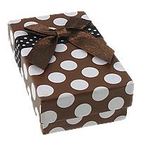 Kartonowe pudełko na zestaw biżuterii, Papier, Pierścień & kolczyk, ze Satynowa wstążka, Prostokąt, wzór w okrągłe plamki, 50x80x25mm, 100komputery/wiele, sprzedane przez wiele