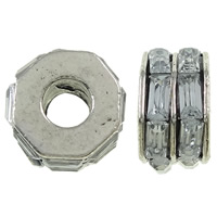 Zinc Alloy European Beads, with Glass, Rondelle, antique silver color plated, without troll, nickel, lead & cadmium free, 11x7mm, Hole:Approx 5mm, 10PCs/Bag, Sold By Bag