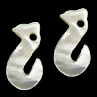 Natural White Shell Pendants, Snake, 12x22.50x2mm, Hole:Approx 2.8mm, 20PCs/Lot, Sold By Lot