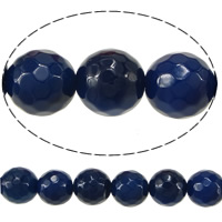 Natural Blue Agate Beads, Round, faceted, 10mm, Hole:Approx 1.5mm, Length:Approx 15 Inch, 10Strands/Lot, 38PCs/Strand, Sold By Lot