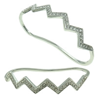 Zinc Alloy Children Bangle, platinum color plated, with rhinestone, nickel, lead & cadmium free, 78x45x13mm, Length:Approx 4 Inch, Sold By PC