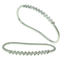 Zinc Alloy Children Bangle, platinum color plated, with rhinestone, nickel, lead & cadmium free, 77x45x6mm, Length:Approx 4.5 Inch, Sold By PC
