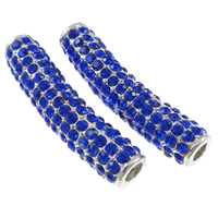 Rhinestone Jewelry Beads, Zinc Alloy, Tube, silver color plated, with rhinestone, blue, nickel, lead & cadmium free, 38x11x9mm, Hole:Approx 4mm, 10PCs/Bag, Sold By Bag