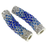 Rhinestone Jewelry Beads, Zinc Alloy, Tube, silver color plated, with rhinestone, nickel, lead & cadmium free, 39x11x9mm, Hole:Approx 4mm, 10PCs/Bag, Sold By Bag