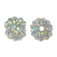 Resin Rhinestone Beads, Round, colorful plated, white, 16x18mm, Hole:Approx 2.5mm, 100PCs/Lot, Sold By Lot