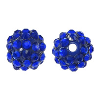 Resin Rhinestone Beads, Round, dark blue, 16x18mm, Hole:Approx 2.5mm, 100PCs/Lot, Sold By Lot