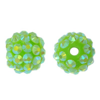 Resin Rhinestone Beads, Round, colorful plated, green, 16x18mm, Hole:Approx 2.5mm, 100PCs/Lot, Sold By Lot