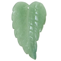 Green Aventurine Pendant, Leaf, 43x73x5mm, Hole:Approx 1.5mm, 10PCs/Lot, Sold By Lot