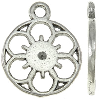 Zinc Alloy Flat Round Pendants, antique silver color plated, nickel, lead & cadmium free, 12x15x3mm, Hole:Approx 2mm, Approx 900PCs/KG, Sold By KG