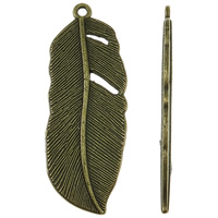 Zinc Alloy Feather Pendants, antique bronze color plated, nickel, lead & cadmium free, 16x44x2mm, Hole:Approx 2mm, Approx 210PCs/KG, Sold By KG