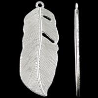 Sinkkiseos Feather riipukset, Sulka, kirkas hopea väri päällystetty, nikkeli, lyijy ja kadmium vapaa, 16x44x2mm, Reikä:N. 2mm, N. 210PC/KG, Myymät KG