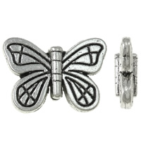 Zinc Alloy Animal Beads, Butterfly, antique silver color plated, nickel, lead & cadmium free, 15x11x4mm, Hole:Approx 2mm, Approx 830PCs/KG, Sold By KG