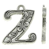 Zinc Alloy Alphabet Pendants, Letter Z, antique silver color plated, nickel, lead & cadmium free, 16x19x2mm, Hole:Approx 2mm, Approx 625PCs/KG, Sold By KG