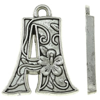 Zinc Alloy Alphabet Pendants, Letter A, antique silver color plated, nickel, lead & cadmium free, 16x19x2mm, Hole:Approx 2mm, Approx 625PCs/KG, Sold By KG