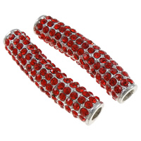 Rhinestone Jewelry Beads, Zinc Alloy, Tube, silver color plated, with rhinestone, red, nickel, lead & cadmium free, 38x11x9mm, 10PCs/Bag, Sold By Bag