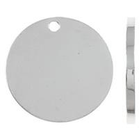 Urok Tag ze stopów cynku, Stop cynku, Moneta, Platerowane kolorem jasnego srebra, Dostosowane, bez zawartości niklu, ołowiu i kadmu, 20x1.5mm, otwór:około 2mm, 100komputery/torba, sprzedane przez torba