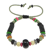 Gemstone Shamballa Bracelets, Wood, with Wax Cord & Lava & Black Agate & Copper Coated Plastic, antique silver color plated, multi-colored, 9x14mm, 6mm, 5x8mm, Length:6-11 Inch, 30Strands/Lot, Sold By Lot