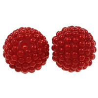 Plastic Beads Resin with Plastic Round red 20mm Hole:Approx 2.5mm 50PCs/Bag