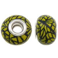 European Polymer Clay Jewelry Beads, Rondelle, platinum plated, messing dubbele kern zonder troll & streep, geel, nikkel, lood en cadmium vrij, 15x11mm, Gat:Ca 5mm, 10pC's/Bag, Verkocht door Bag