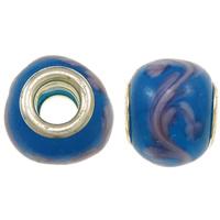 Szklane koraliki European, Lampwork, Okrąg, Ręcznie robione, z motywem kwiatowym & mosiężny podwójny środek bez gwintu, niebieski, bez zawartości niklu, ołowiu i kadmu, 14x12.5mm, otwór:około 5mm, 10komputery/torba, sprzedane przez torba