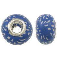 European Polymer Clay Jewelry Beads, Rondelle, platinum plated, messing dubbele kern zonder troll, blauw, nikkel, lood en cadmium vrij, 15x11mm, Gat:Ca 5mm, 10pC's/Bag, Verkocht door Bag