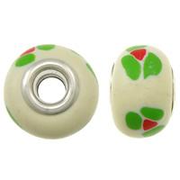European Polymer Clay Jewelry Beads, Rondelle, platinum plated, met bloempatroon & messing dubbele kern zonder troll, wit, nikkel, lood en cadmium vrij, 15x11mm, Gat:Ca 5mm, 10pC's/Bag, Verkocht door Bag