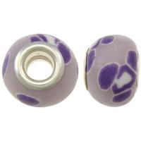 European Polymer Clay Jewelry Beads, Rondelle, platinum plated, met bloempatroon & messing dubbele kern zonder troll, lichtpaars, nikkel, lood en cadmium vrij, 15x11mm, Gat:Ca 5mm, 10pC's/Bag, Verkocht door Bag