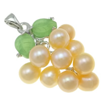 Freshwater Pearl Pendants with Brass Grape natural pink 13x35mm 6-7mm Hole:Approx 3x5mm
