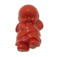 Cynober Wisiorek, Chłopiec, Naturalne, czerwony, 16x25x9mm, otwór:około 1mm, 10komputery/wiele, sprzedane przez wiele