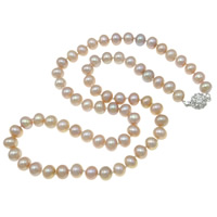 Natural Freshwater Pearl Necklace sterling silver bayonet clasp Round purple Grade AAA 6.5-7mm Sold Per 17 Inch Strand