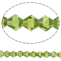 Bicone Crystal Beads, Kristal, gefacetteerde, olijfgroen, 8x8mm, Gat:Ca 1.5mm, Lengte:10.5 inch, 10strengen/Bag, Verkocht door Bag