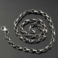 Stainless Steel Chain Necklace, 316L Stainless Steel, plated, rope chain & two tone, 6mm, Length:Approx 20 Inch, 2Strands/Lot, Sold By Lot