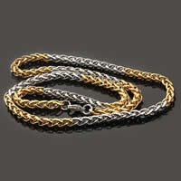 Stainless Steel Chain Necklace, 316L Stainless Steel, plated, wheat chain & two tone, 5mm, Length:Approx 21.5 Inch, 3Strands/Lot, Sold By Lot