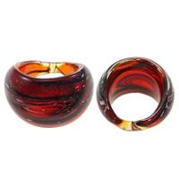 кольцо Лампворк, Лэмпворк, Связанный вручную, красный, 31x22x30mm, размер:7.5, 10ПК/сумка, продается сумка
