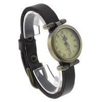 Zegarek unisex, Sznur z krowiej skóry, ze Tarcza ze stopów cynku, Platerowane kolorem starego brązu, kawowy, bez zawartości niklu, ołowiu i kadmu, 25mm, długość:około 9.4 cal, 8nici/wiele, sprzedane przez wiele