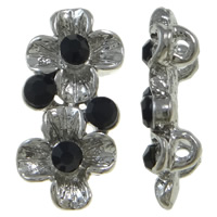 Zinc Alloy Spacer Bar, Flower, platinum color plated, with rhinestone & 2-strand, nickel, lead & cadmium free, 16x8x4.50mm, Hole:Approx 1mm, 10PCs/Bag, Sold By Bag