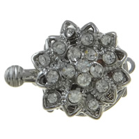 Zinc Alloy Box Clasp, Flower, platinum color plated, with rhinestone & single-strand, nickel, lead & cadmium free, 14x20x8mm, Hole:Approx 1mm, 10PCs/Bag, Sold By Bag