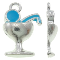 Zinc Alloy Pendants, Cup, silver color plated, enamel, blue, nickel, lead & cadmium free, 10x15x3mm, Hole:Approx 1.5mm, 100PCs/Bag, Sold By Bag