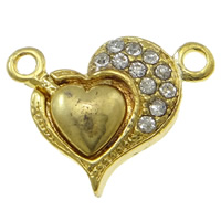 Zinc Alloy Magnetic Clasp, Heart, gold color plated, with rhinestone & single-strand, nickel, lead & cadmium free, 22x17x6mm, Hole:Approx 2mm, 10PCs/Bag, Sold By Bag