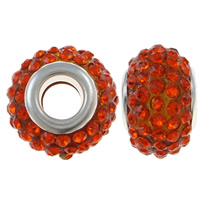 European Resin Beads, Rondelle, platinum color plated, brass double core without troll & with rhinestone, reddish orange, 15x10mm, Hole:Approx 5mm, 10PCs/Bag, Sold By Bag