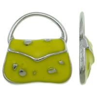 Zinklegering Handtas Hangers, Zinc Alloy, platinum plated, glazuur, geel, nikkel, lood en cadmium vrij, 15.50x18x3mm, Gat:Ca 11.5x6.5mm, 100pC's/Bag, Verkocht door Bag