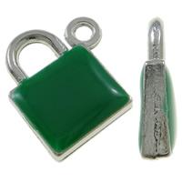 Sinkkiseos Lock riipukset, Lukko, platina väri päällystetty, emali, vihreä, nikkeli, lyijy ja kadmium vapaa, 15x17.50x4mm, Reikä:N. 1.5mm, 100PC/laukku, Myymät laukku