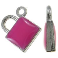 Sinkkiseos Lock riipukset, Lukko, platina väri päällystetty, emali, vaaleanpunainen, nikkeli, lyijy ja kadmium vapaa, 15x17.50x4mm, Reikä:N. 1.5mm, 100PC/laukku, Myymät laukku