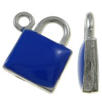 Sinkkiseos Lock riipukset, Lukko, platina väri päällystetty, emali, tummansininen, nikkeli, lyijy ja kadmium vapaa, 15x17.50x4mm, Reikä:N. 1.5mm, 100PC/laukku, Myymät laukku
