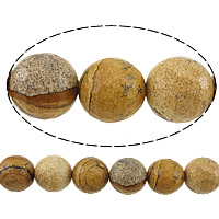 Natural Picture Jasper Beads, Round, faceted, 8mm, Hole:Approx 1mm, Length:Approx 15 Inch, 10Strands/Lot, Approx 46PCs/Strand, Sold By Lot