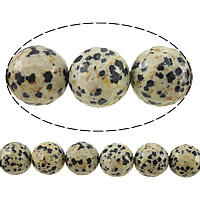 Natural Dalmatian Beads, Round, faceted, 14mm, Hole:Approx 1.2-1.4mm, Length:Approx 15 Inch, 5Strands/Lot, Approx 27PCs/Strand, Sold By Lot