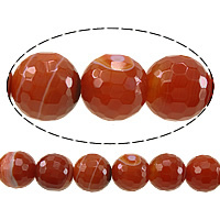 Natural Lace Agate Beads, Round, faceted, red, 10mm, Hole:Approx 1.5mm, Length:Approx 15 Inch, 10Strands/Lot, Approx 38PCs/Strand, Sold By Lot