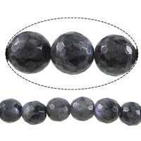 Natural Labradorite Beads, Round, faceted, 8mm, Hole:Approx 1mm, Length:Approx 15 Inch, 10Strands/Lot, Approx 46PCs/Strand, Sold By Lot